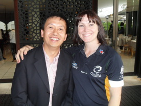 Champion Cyclist Anna Meares with director Jack Zhang